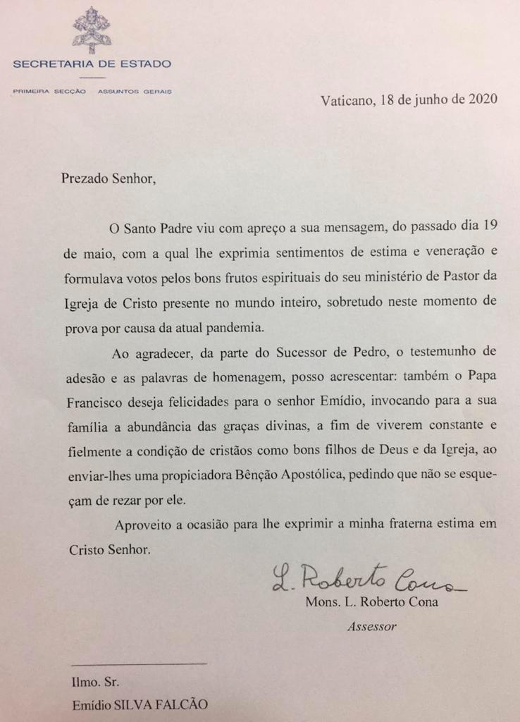 Mensagem do Papa Francisco ao Acadêmico Emídio Brasileiro.